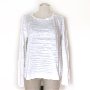 CAbi Lace Back White Summer Sweater Size M